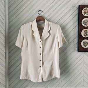 Vtg Cream Silk Button Down Minimalist Blouse